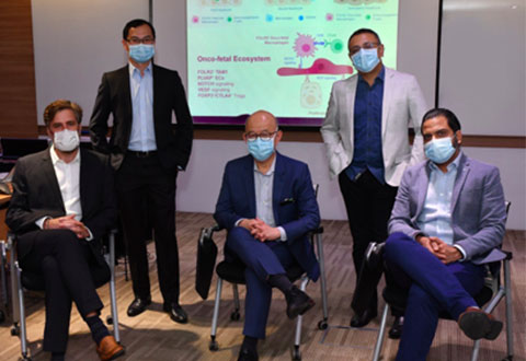 From left Dr Florent Ginhoux, Prof Jerry Chan, Prof Pierce Chow, Dr Ramanuj DasGupta, and Dr Ankur Sharma (Copyright A*STAR's Genome Institute of Singapore)